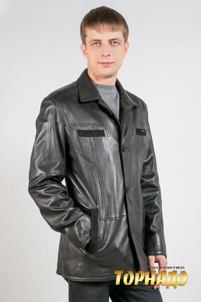 Мужская кожаная куртка. Артикул 19973.