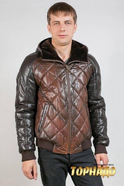 Мужской кожаный пуховик. Артикул 21000-1.