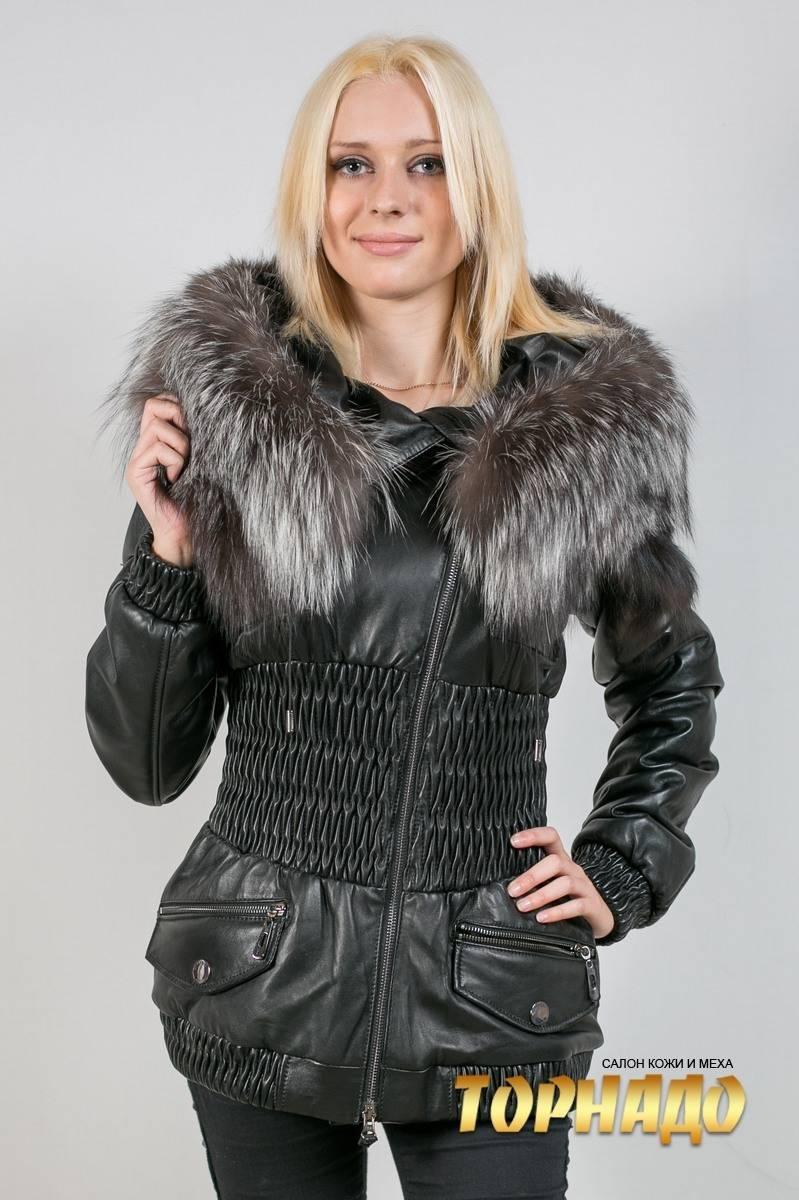 Женский кожаный пуховик. Артикул 17515.