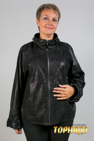 Женская кожаная куртка. Артикул 16763.