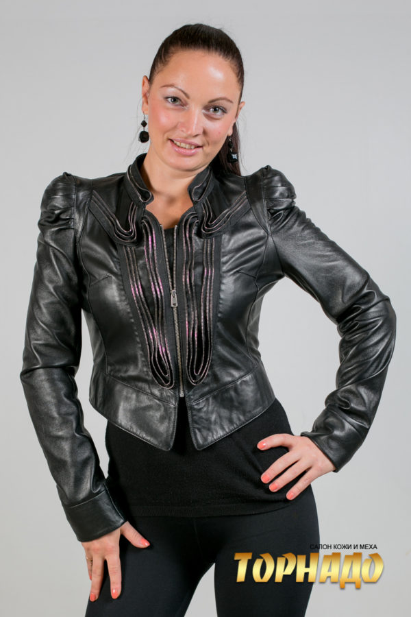 Женская кожаная куртка. Артикул 16792.