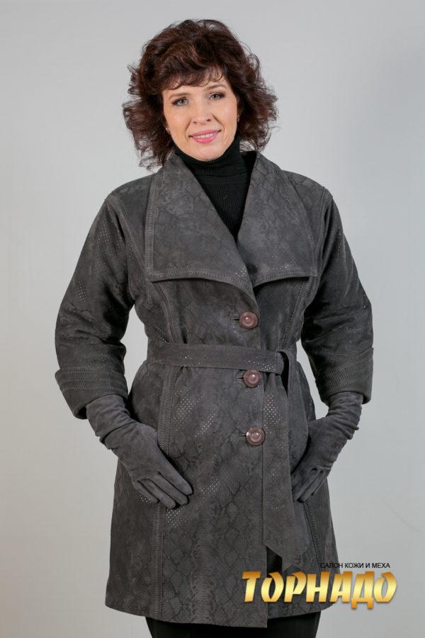 Женская кожаная куртка. Артикул 18347.
