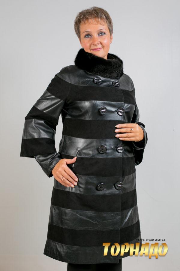 Женская кожаная куртка. Артикул 18420.