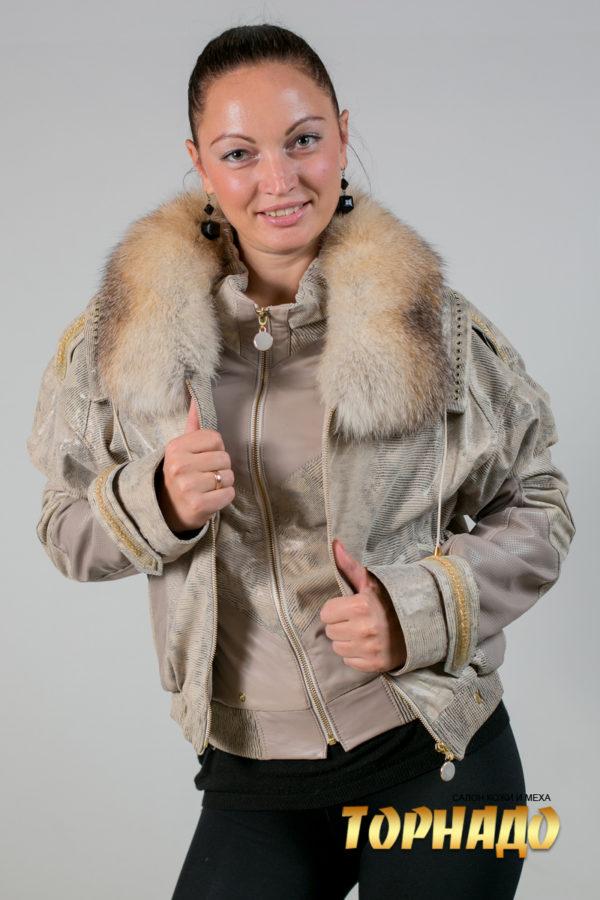 Женская кожаная куртка. Артикул 18632.