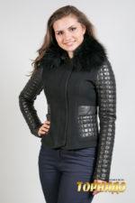 Женская кожаная куртка. Артикул 21393.