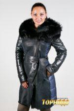 Женский кожаный пуховик. Артикул 20956.