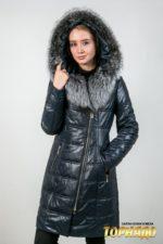 Женское пальто с отделкой из меха норки. Артикул 22638.