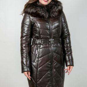 Женское пальто с отделкой из меха норки. Артикул 22649.